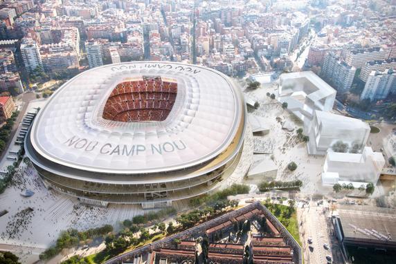 Maqueta virtual del Nou Camp Nou y Zona Campus. Vista aérea diurna.