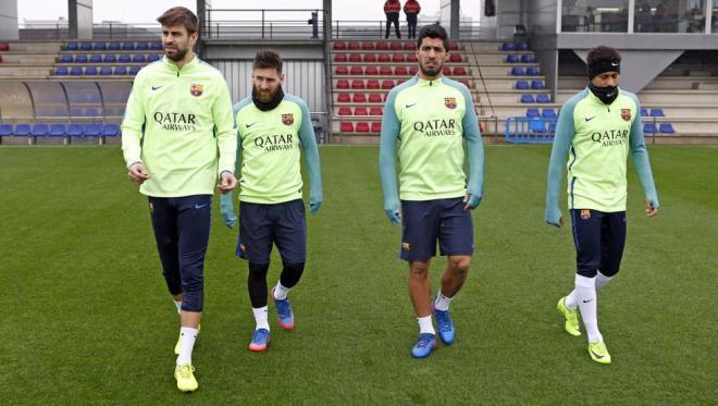 Piqué, Messi, Luis Suarez et Neymar, le vendredi à la Ciutat Esportiva