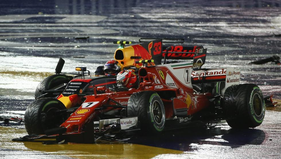 Así quedaron los coches de Verstappen y Raikkonen