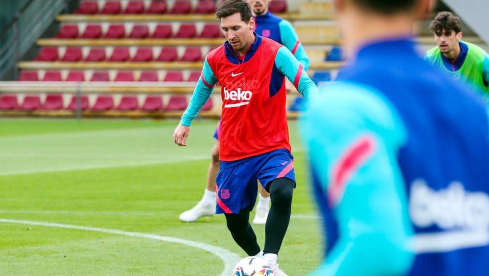 Messi, dalam sesi latihan Barca sebelum duel melawan Getafe