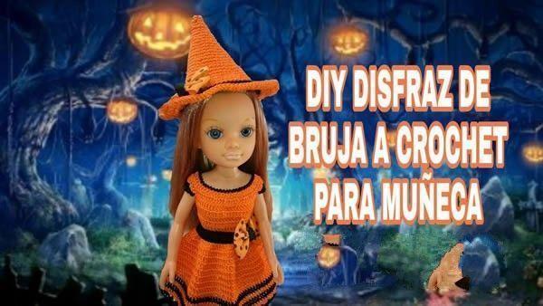 DIY disfraz de Bruja a crochet para muñeca Nancy