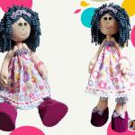 Muñeca de trapo con pelo rizado DIY y moldes gratis