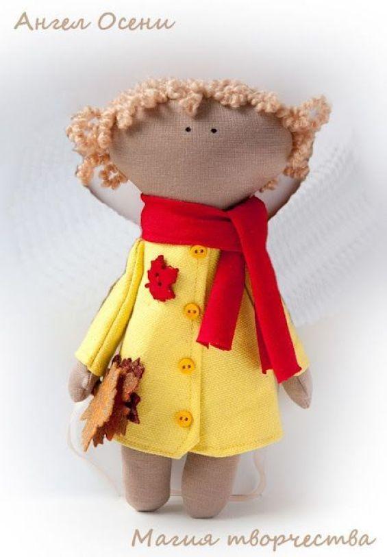 Muñeca de trapo de otoño con moldes