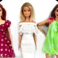3 vestidos para Barbie sin coser DIY paso a paso