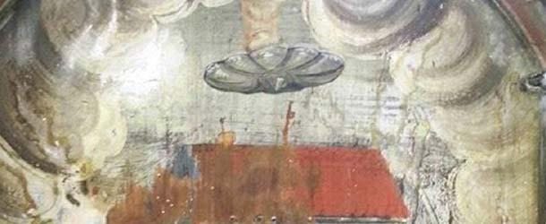 Descubren un OVNI en una antigua pintura en Rumania