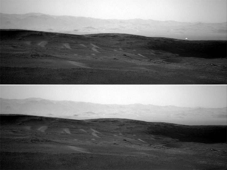 mysterious white light on Mars - Image from NASA shows a mysterious white light on Mars and no one knows what its origin