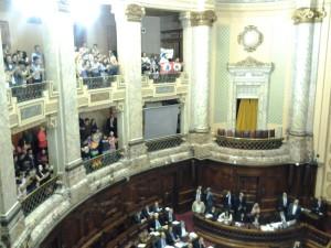 Militantes y público festejan en las barras de la Cámara de Representantes la aprobación del Matrimonio Igualitario en Uruguay. Foto: Esteban Paulón.