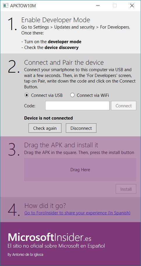 Captura del instalador de aplicaciones en ingles