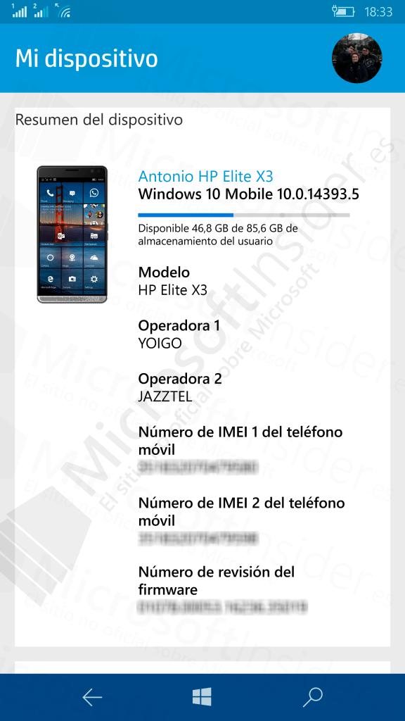 HP Device Hub en el HP Elite X3 en Microsoft Insider