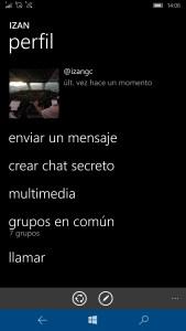 Página perfil contacto en Telegram