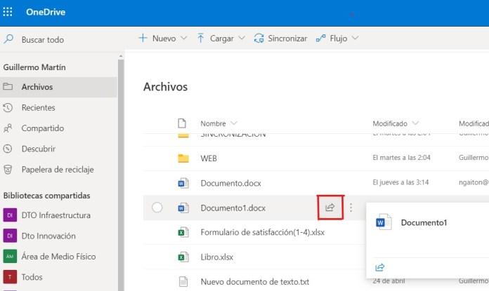 Compartir un archivo con un link en OneDrive Empresarial