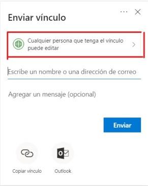 Ventana enviar vínculo en OneDrive y SharePoint
