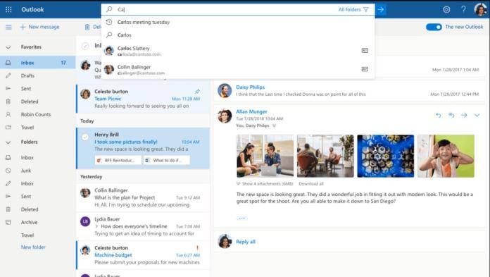 Outlook Web recibe respuestas sugeridas y predicción de texto