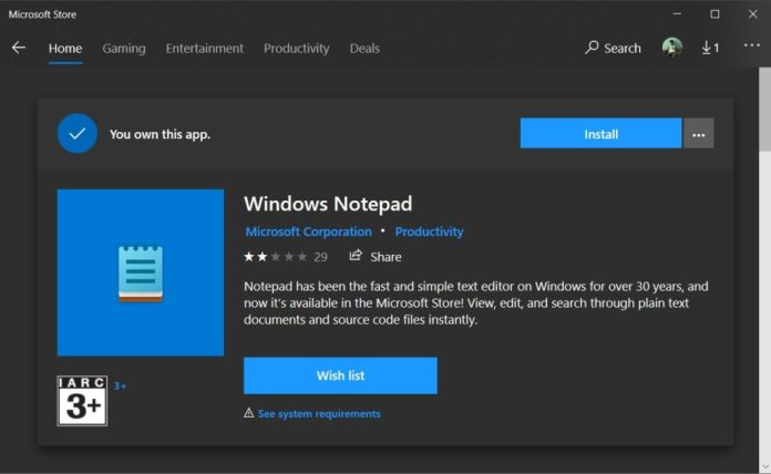 El Bloc de notas de Windows 10 podría convertirse en una aplicación separada y actualizable