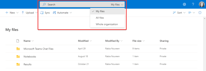 Microsoft OneDrive for Business y SharePoint admiten controles de búsqueda