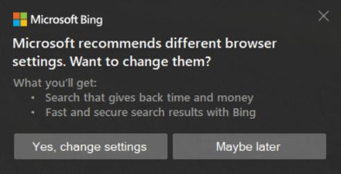 Windows 10 vuelve a alertar de forma algo intrusiva a los usuarios sobre utilizar Microsoft Bing