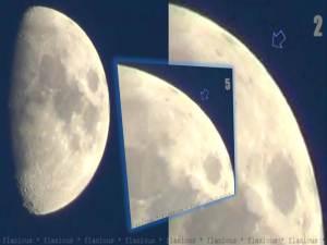 Orbes blancos flotando cerca de la superficie lunar – 09 de julio 2011