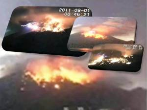 Grandes erupciones con rayos de descarga estática en el volcán Sakurajima en Japón el 28 de agosto y 01 de septiembre 2011