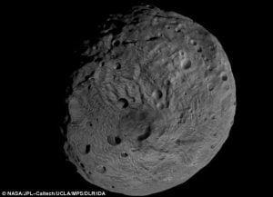 Impresionante vista 3D de una montaña de 13 kilómetros el asteroide Vesta – rodeada de escombros de derrumbe