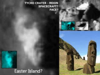 Tycho crater Moon - Tycho Crater Face of Easter Island Statue on the Moon?