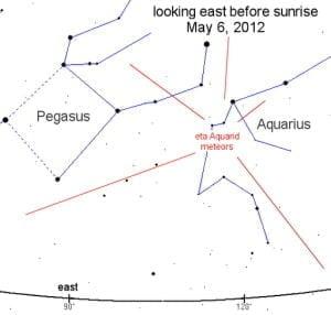 Lluvia de meteoros Acuáridas de los picos del cometa Halley este fin de semana, 5-6 mayo, 2012