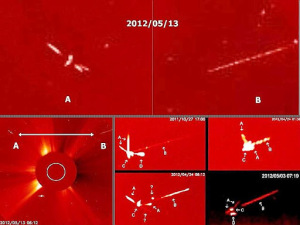Recopilación de vídeos de OVNIs aparecidos cerca del sol durante el mes de mayo, 2012