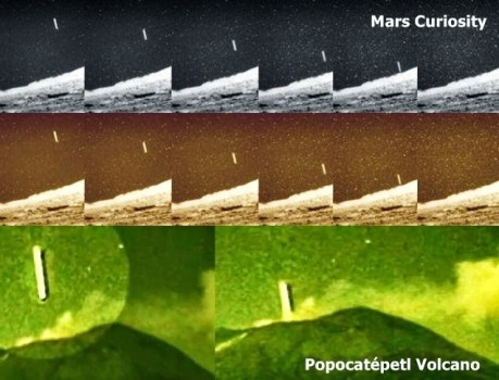 OVNI con forma de cigarro grabado por la sonda Curiosity, similar al del Volcán Popocatépetl