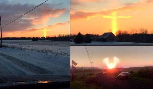 Cruz y ángel de la guarda en el cielo sobre Michigan y Hawaii