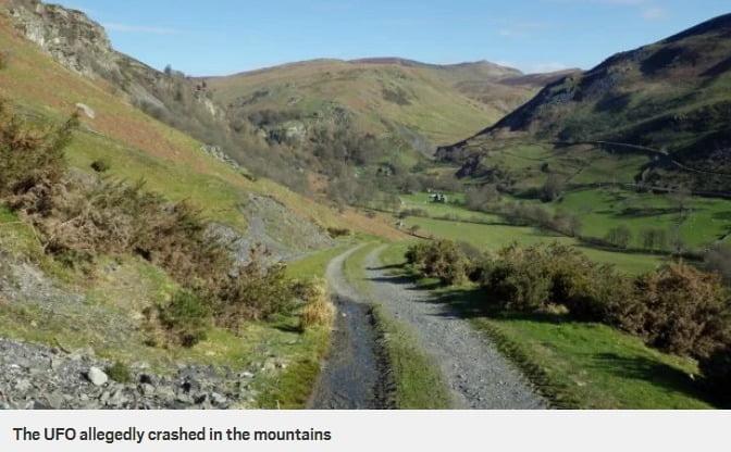 Investigador OVNI revela la trayectoria de vuelo de un OVNI estrellado en las montañas de Gales