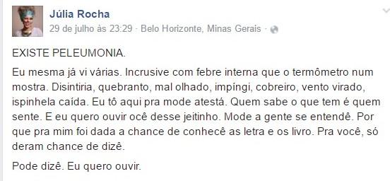 Post da médica Júlia Rocha (Reprodução - Facebook)