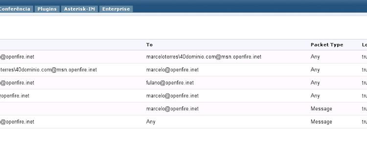 Openfire: como bloquear usuários MSN usando o Gateway IM e o Packet Filter