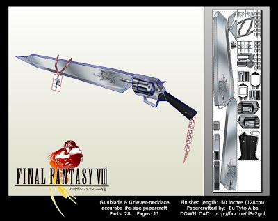 Final Fantasy VIII - Life Size Gunblade Papercraft