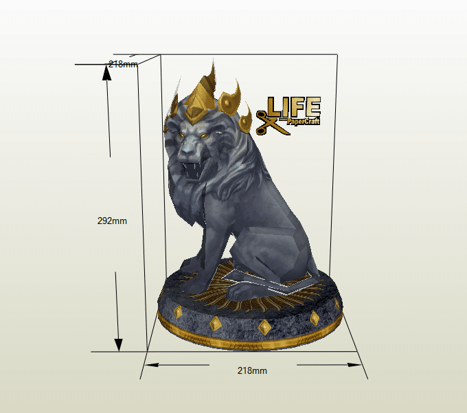 Estatua León papercraft
