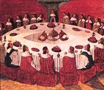El poeta del siglo XII Layamón sugirió que el rey eligió esa forma para evitar disputas entre sus caballeros por prevalecer unos sobre otros.