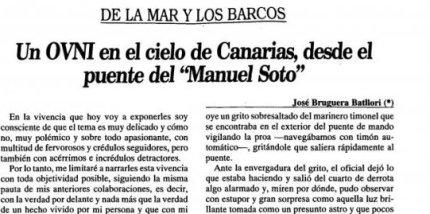 """Carta enviada al Diario de Avisos el 21 de julio de 1992 por el capitán Bruguera Batllori explicando el segundo avistamiento OVNI del """"Manuel Soto""""."""