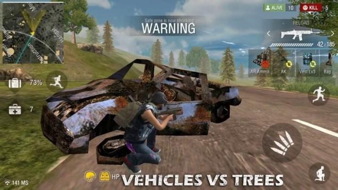 vehiculos vs arboles free fire