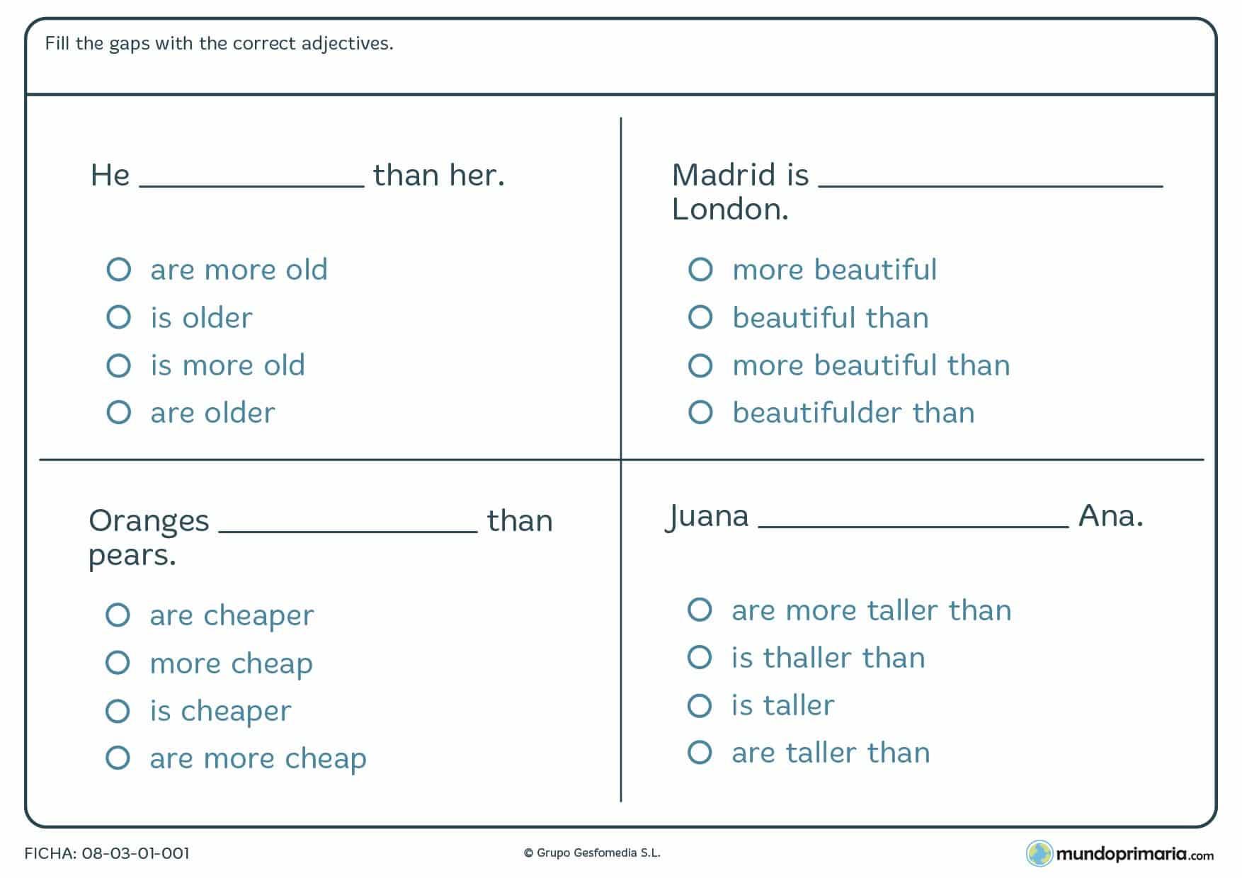 Ficha De Rellenar Con Los Adjetivos Correctos En Ingles