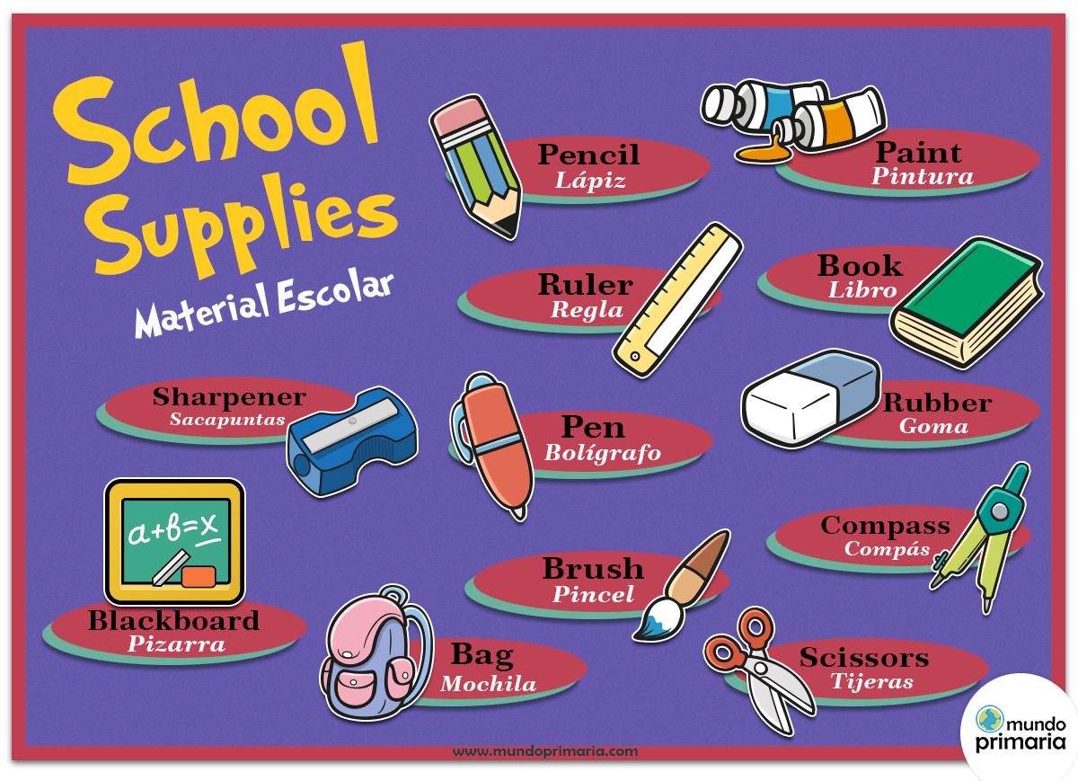 Material Escolar En Ingles Infografia