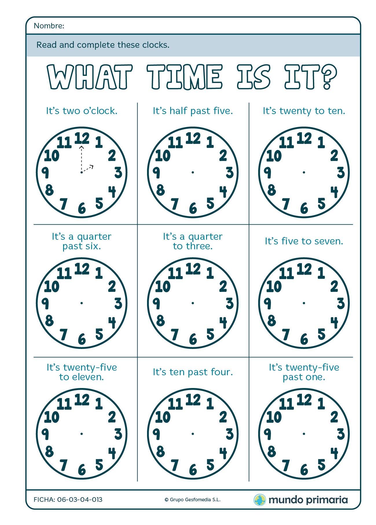 Ficha De Dibujar Los Relojes En Ingles Para 4o De Primaria