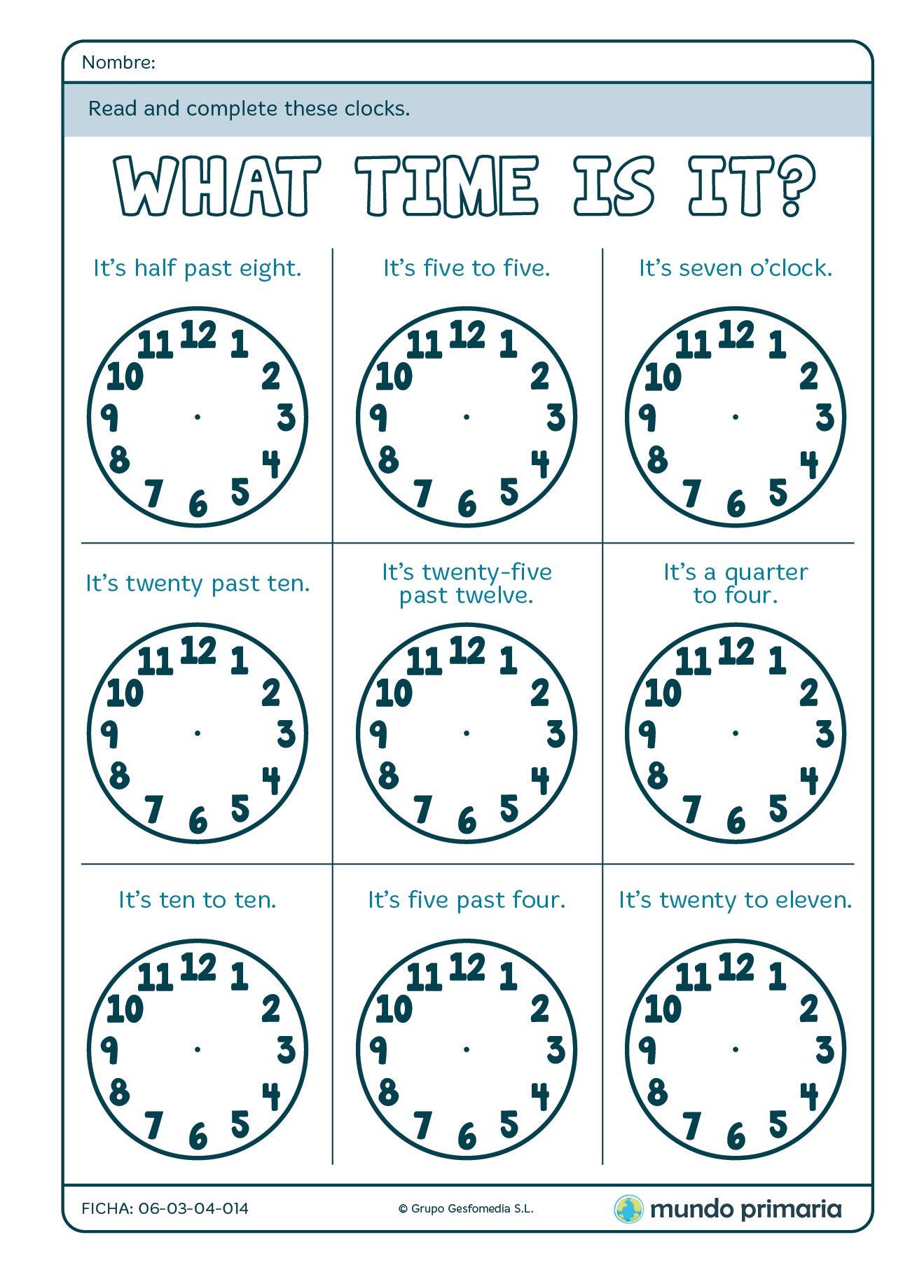 Ficha Para Completar Los Relojes De La Hora En Ingles Para