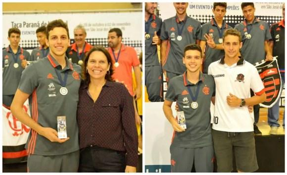 Atacante Guilherme e o levantador Luan recebem seus troféus. Foto: Leila Nunes / Taça Paraná
