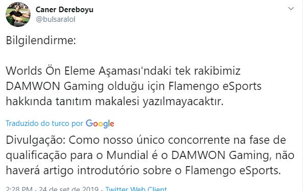 Rivais turcos provocam e desrespeitam o Brasil e o Flamengo eSports nas redes sociais