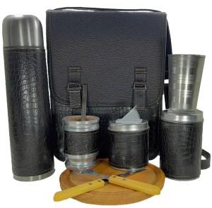 Set matero camping croco negro con tabla para asado y cubiertos