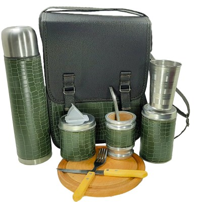Set camping color croco verde con tabla cubiertos y vaso ventas mayoristas