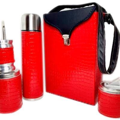 Set matero color croco Rojo colección FLOR