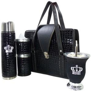 Set matero color croco Negro y mate calabaza con corona colección JACK