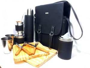 Set matero porta plato para asado forrado con eco-cuero negro