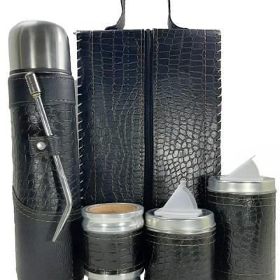Set matero premium croco negro colección MELU