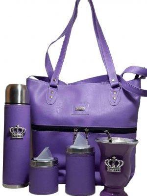Set matero con bolso de eco-cuero violeta