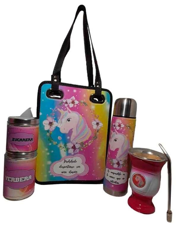 Set matero de Unicornios coloridos y mate de calabaza con domo